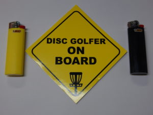 Disc Golfer on Board Sticker